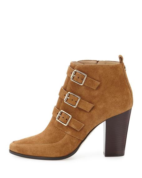 Hutch Suede Triple-Buckle Boot, Cinnamon
