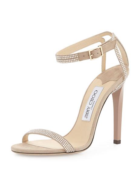 Jimmy Choo Daisy Crystallized Ankle-Wrap Sandal, Nude