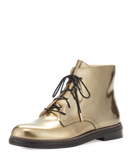Jimmy Choo Burke Mirror Leather Lace-Up Boot, Gold
