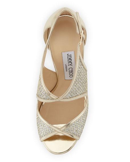 Leondra Crystal-Embellished Evening Sandal,  Champagne