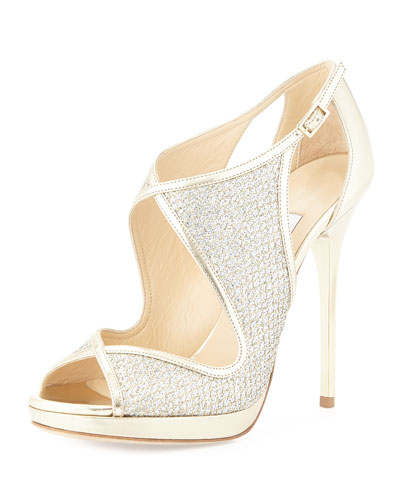 Leondra Crystal-Embellished Evening Sandal,  Champagne