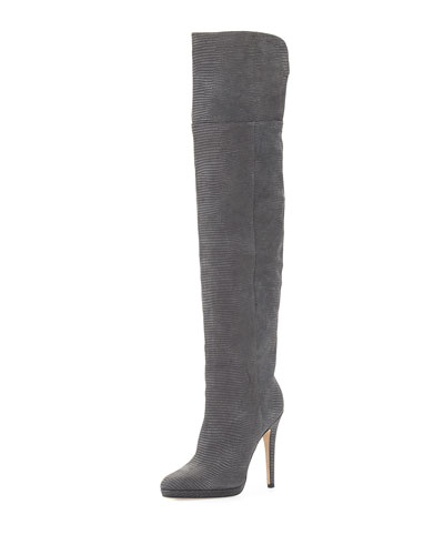 Giselle Over-the-Knee Leather Boot, Mist