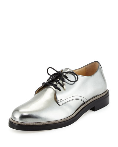 Bran Mirror Leather Oxford, Mist