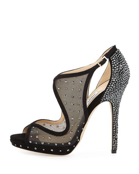 Leondra Crystal-Embellished Evening Sandal, Black
