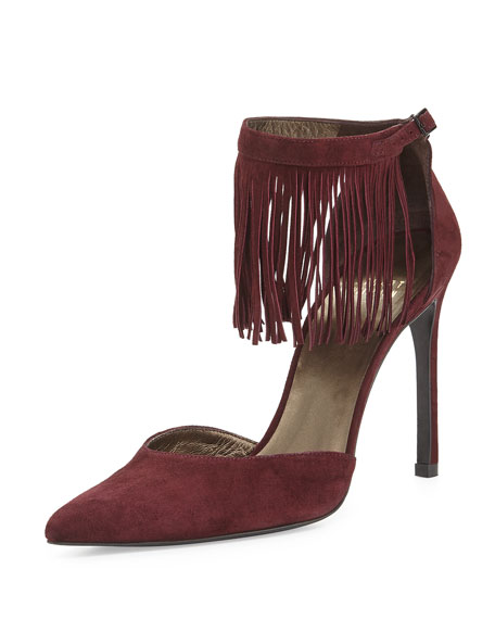 Stuart Weitzman Fringelica Pointed-Toe Pump, Currant