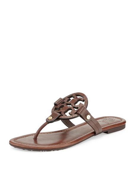 Tory Burch Miller Logo Flat Sandal, Chocolate