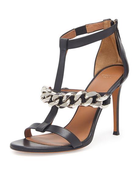 Leather Chain T-Strap Sandal, Black