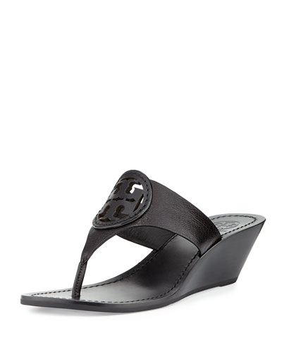 Louisa Logo Wedge Sandal, Black
