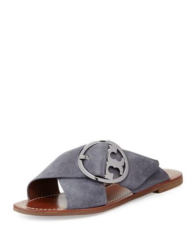 Grant Suede Sandal Slide, Dark Gray