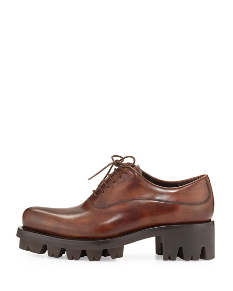 prada lace up leather creeper shoe teak