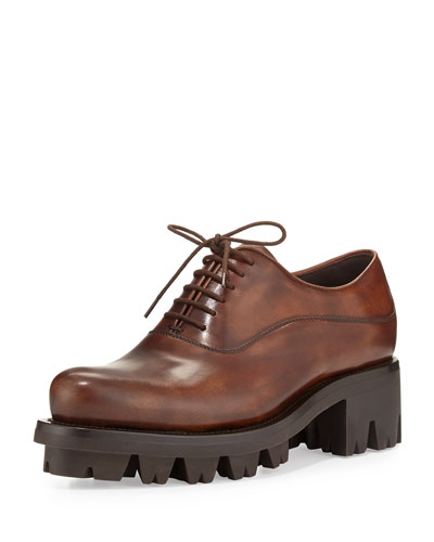 Lace-Up Leather Creeper Shoe, Teak