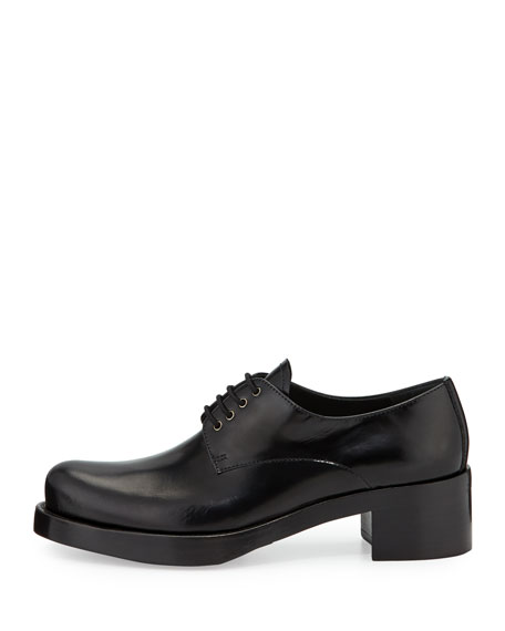 Spazzolato Leather Platform Oxford Shoe, Black (Nero)