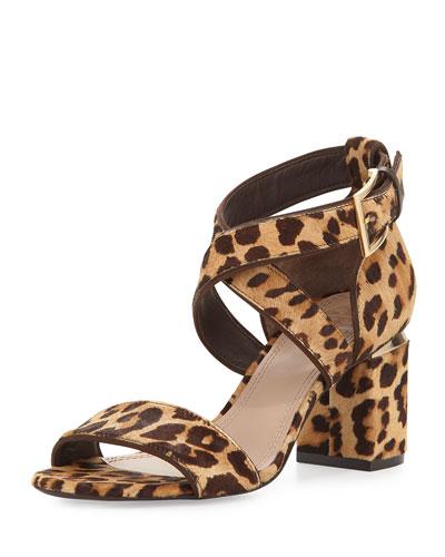 Montclare Calf-Hair Sandal, Leopard