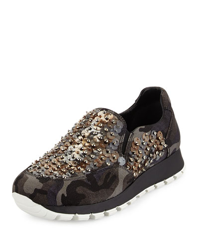 Sequin-Embroidered Camouflage-Tech Sneaker, Gray