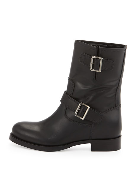 Calf Leather Biker Boot, Black