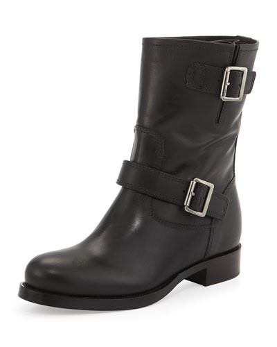 Calf Leather Biker Boot, Black