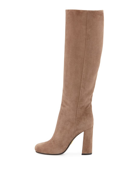 Suede High-Heel Knee Boot, Mink (Visone)