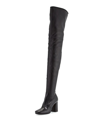 Chunky-Heel Over-The-Knee Leather Boot, Black (Nero)