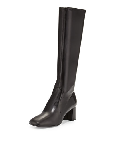 Napa Stretch Square-Toe Knee Boot, Black (Nero)