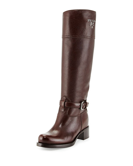 Prada Cervo Antik Logo Riding Boot, Brown (Caffee)