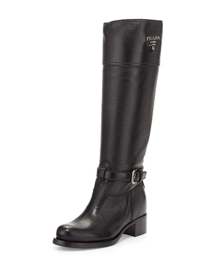 Prada Cervo Logo Riding Boot, Black (Nero)