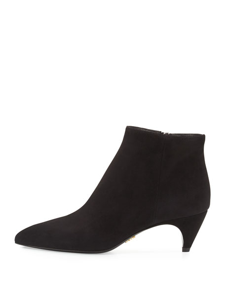 Prada Pointed-Toe Low-Heel Ankle Boot Nero
