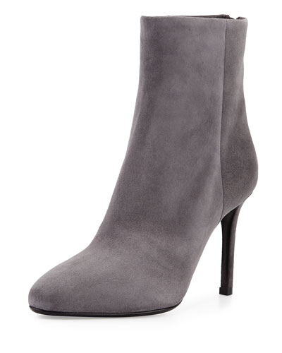 Suede Back-Zip Ankle Boot, Gray (Nebbia)