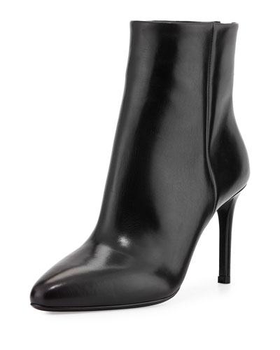Vitello Back-Zip Ankle Boot, Black (Nero)