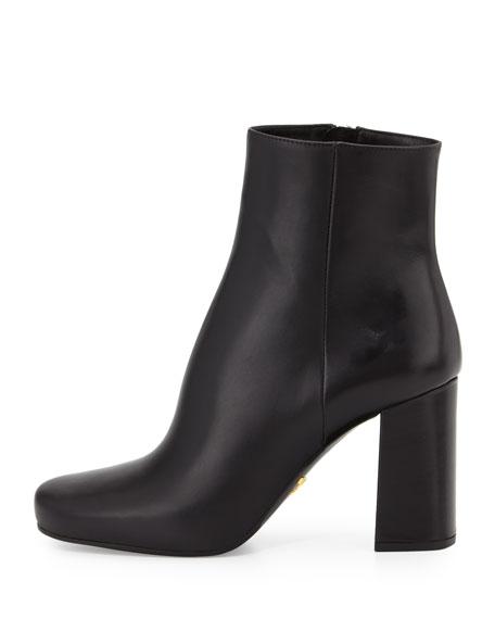 Vitello Leather Ankle Boot, Black (Nero)