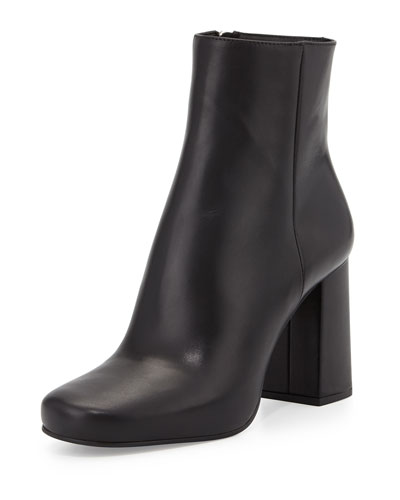 Vitello Leather Ankle Boot, Black (Nero)
