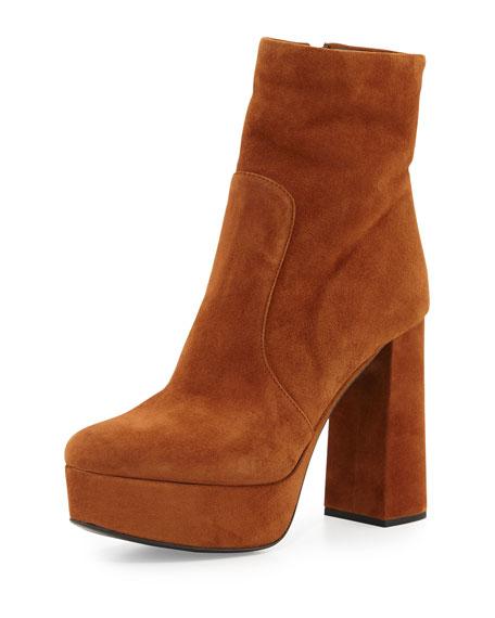 Prada Suede Platform Ankle Boot, Rosewood