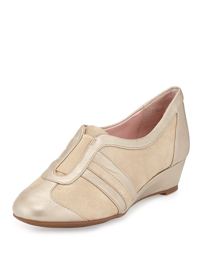 Paislee Metallic Slip-On Sneaker, Beige/Gold