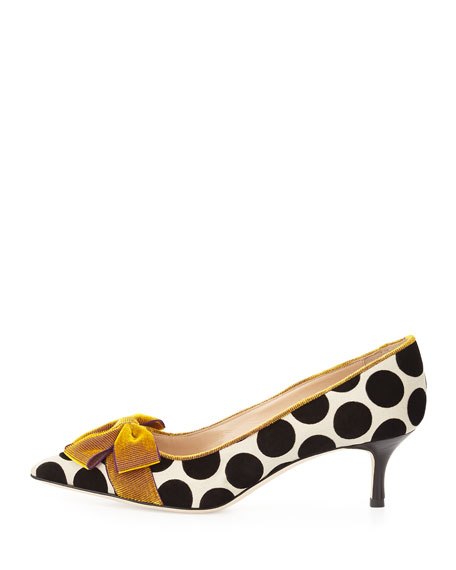 Gorina Velvet Polka-Dot Pump, Black/White/Gold