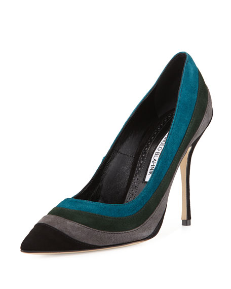 Manolo Blahnik Picatri Colorblock Suede Pump, Black