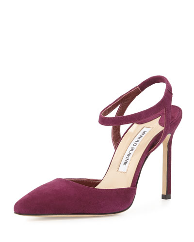 Minis Suede Ankle-Wrap Pointed-Toe Pump, Cranberry