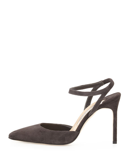 Minis Suede Ankle-Wrap Pointed-Toe Pump, Charcoal