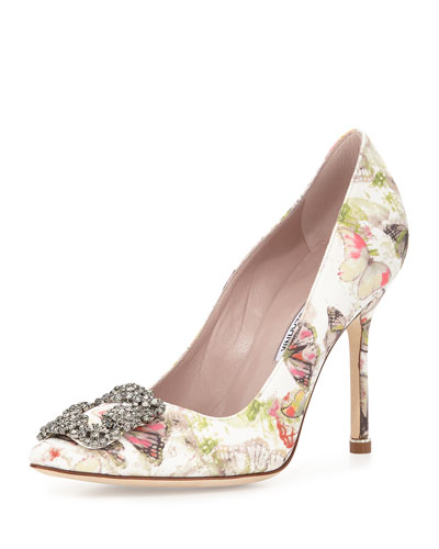 Hangisi Butterfly-Print Satin Pump, Multi