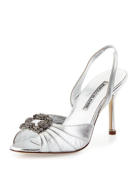 Manolo Blahnik Cassia Crystal Slingback Sandal, Silver