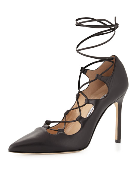 Manolo Blahnik Rogustta Lace-Up Leather Pump, Black
