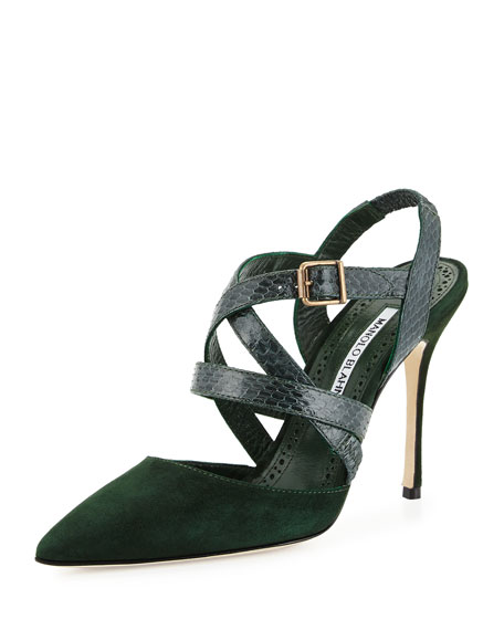 Manolo Blahnik Pitina Strappy Watersnake Sandal, Green
