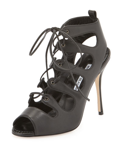 Taala Leather Lace-Up Sandal, Black