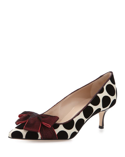 Gorina Velvet Polka-Dot Pump, Ruby