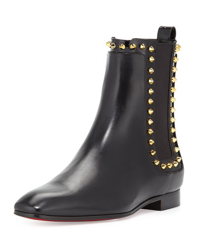 Marianne Red Sole Chelsea Boot, Black/Golden