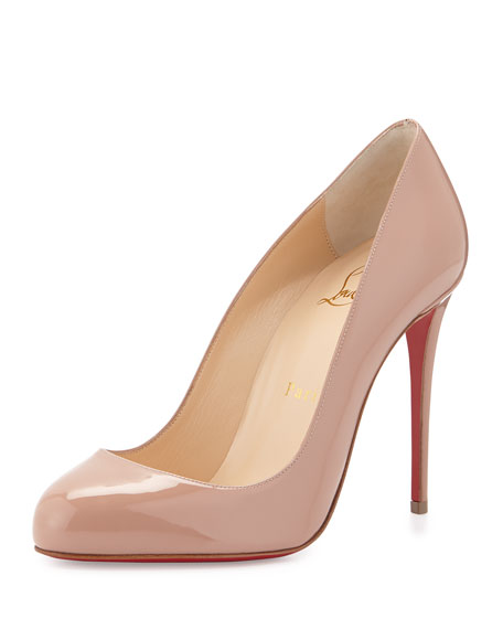 Christian Louboutin Dorissima Patent Red Sole Pump, Nude