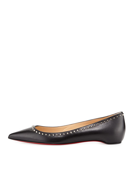 0841ccd8bf5 Anjalina Studded Red Sole Flat Black