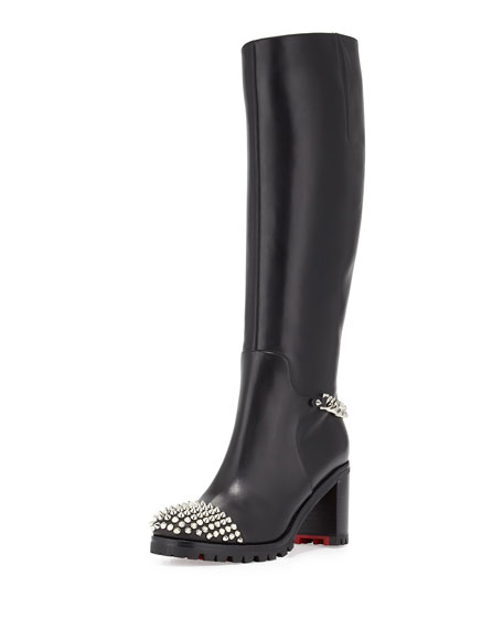 Christian Louboutin Napaleona Spiked-Toe Red Sole Knee Boot,