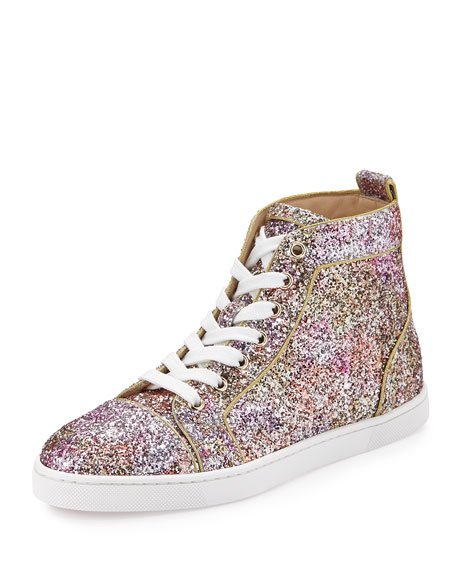 louboutin loafers - Christian Louboutin Bip Bip Glitter Aquarium High-Top Sneaker, Rosette