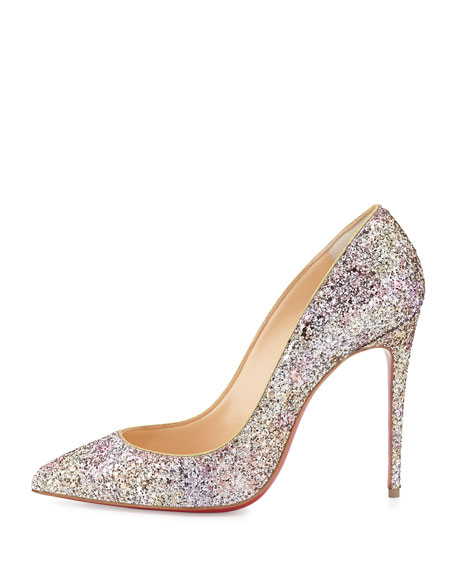 Pigalle Follies Glitter Red Sole Pump, Rosette/Gold