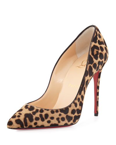 Pigalle Follies Calf-Hair Red Sole Pump, Brown/Leopard