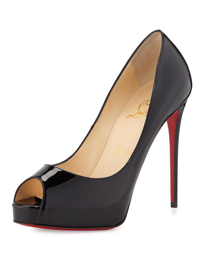 New Very Prive Peep-Toe Red Sole Pump, Black